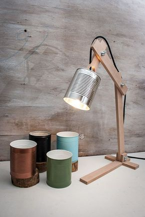 Silberne Schreibtischlampe, Silberner Lampenschirm, Originallampe, Recyclingdose, Schreibtischlampen, Holztischlampe, Holzlampe,Holzgeschenk #caixasdemadeira