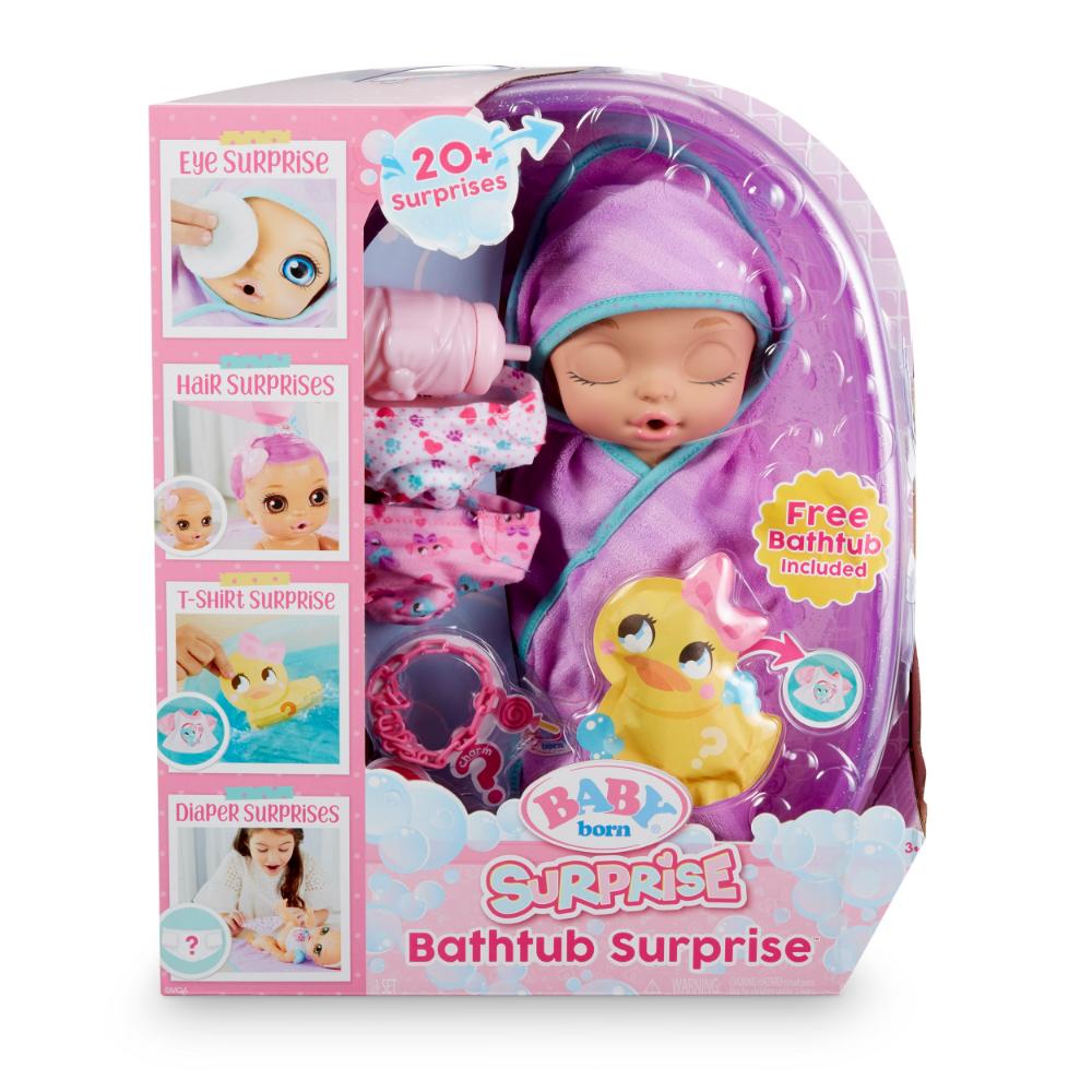 Baby Born Surprise Bathtub Surprise Purple Swaddle Princess Walmart Com Baby Born Baby Doll Toys Baby Dolls