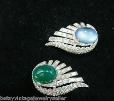 Pair of Art Deco Jomaz Fur Clips  - Blue, Green with Rhinestones