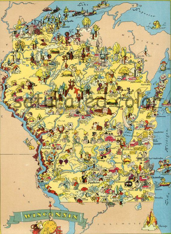 Wisconsin Map ORIGINAL 9 x 13 Vintage 1930s Antique Picture Map
