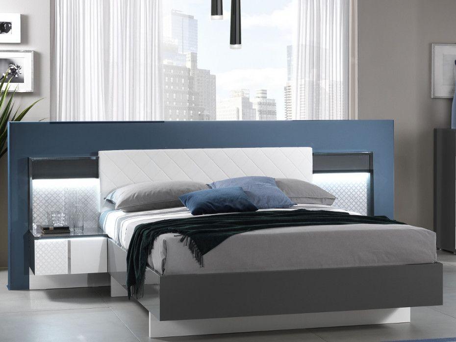 Lit CONSCIENCE - 160x200cm - 2 chevets avec LEDs intégrés - Laqué blanc et gris   Tête de lit ...