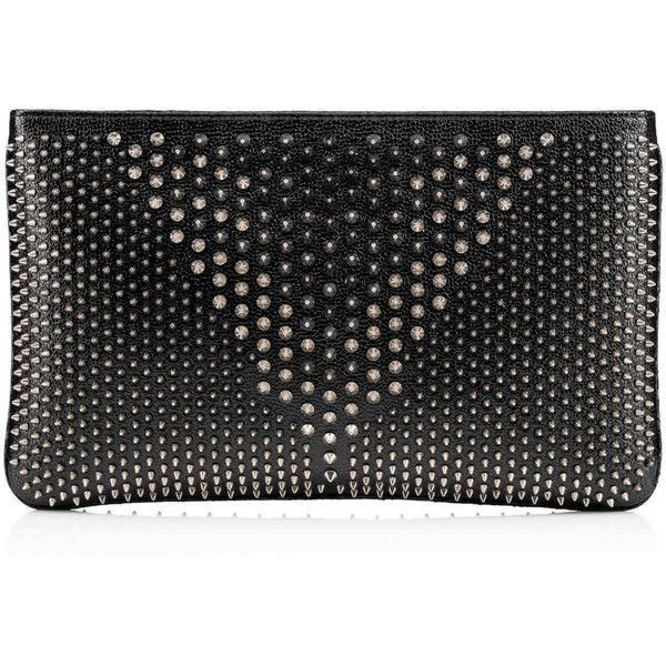 Christian Louboutin Loubiposh Clutch ($1,290) ❤ liked on Polyvore featuring bags, handbags, clutches, black, genuine leather purse, 100 leather handbags, genuine leather handbags, real leather purses and christian louboutin handbags