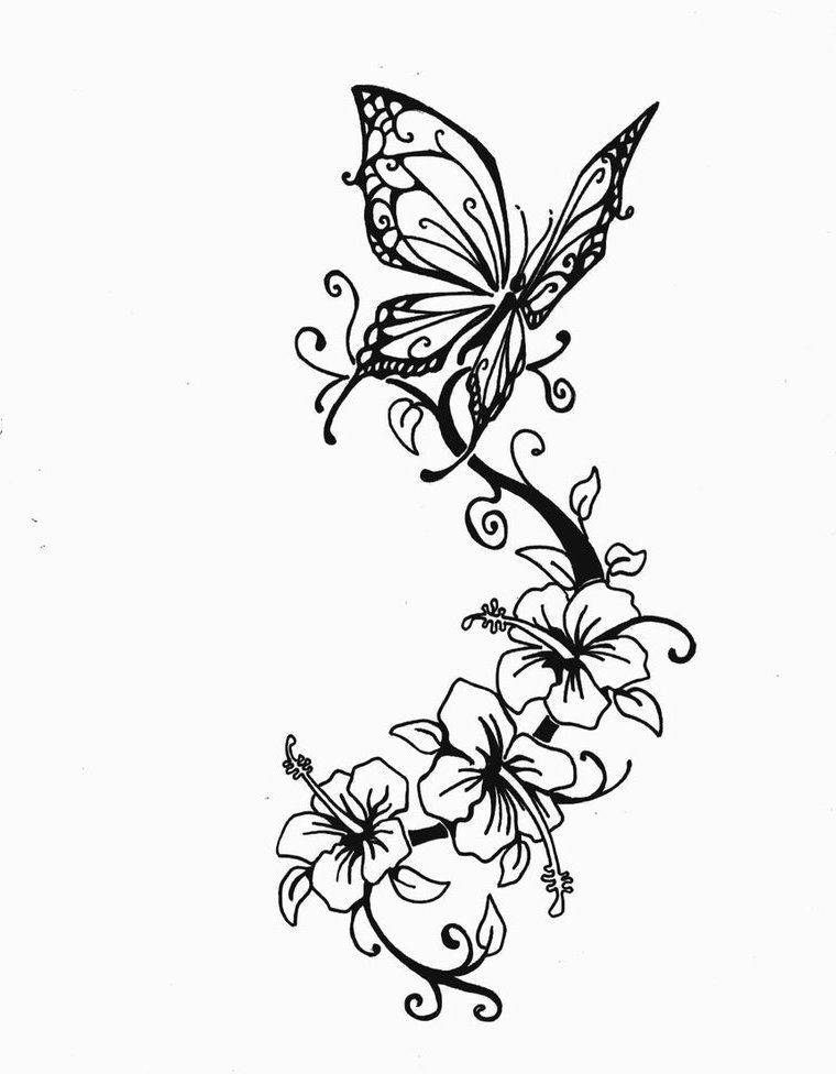 image result for butterfly and flower designs tattoos