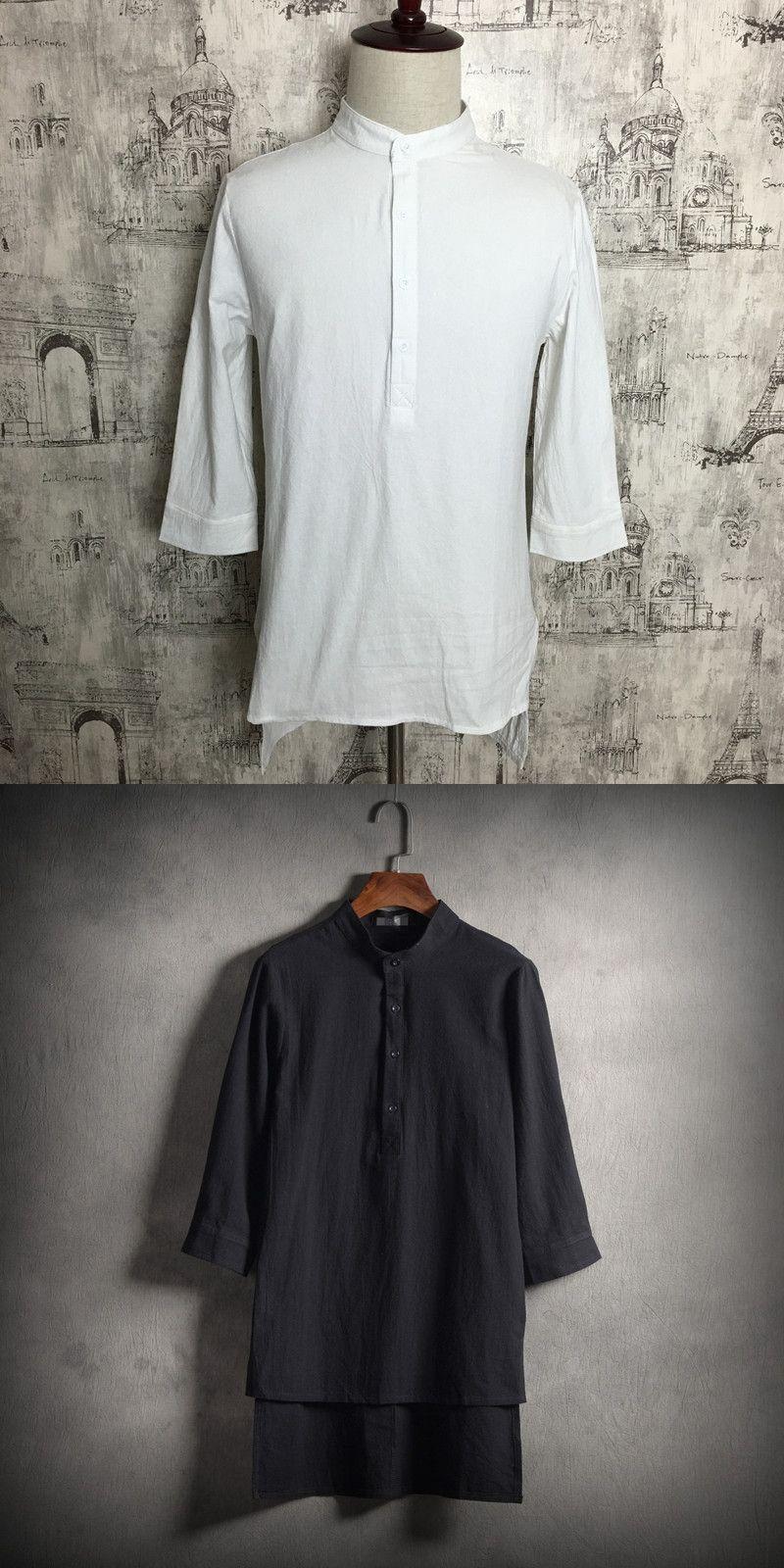 M-5XL!! Male half sleeve linen shirt medium-long fluid loose shirt fifth sleeve slim outerwear
