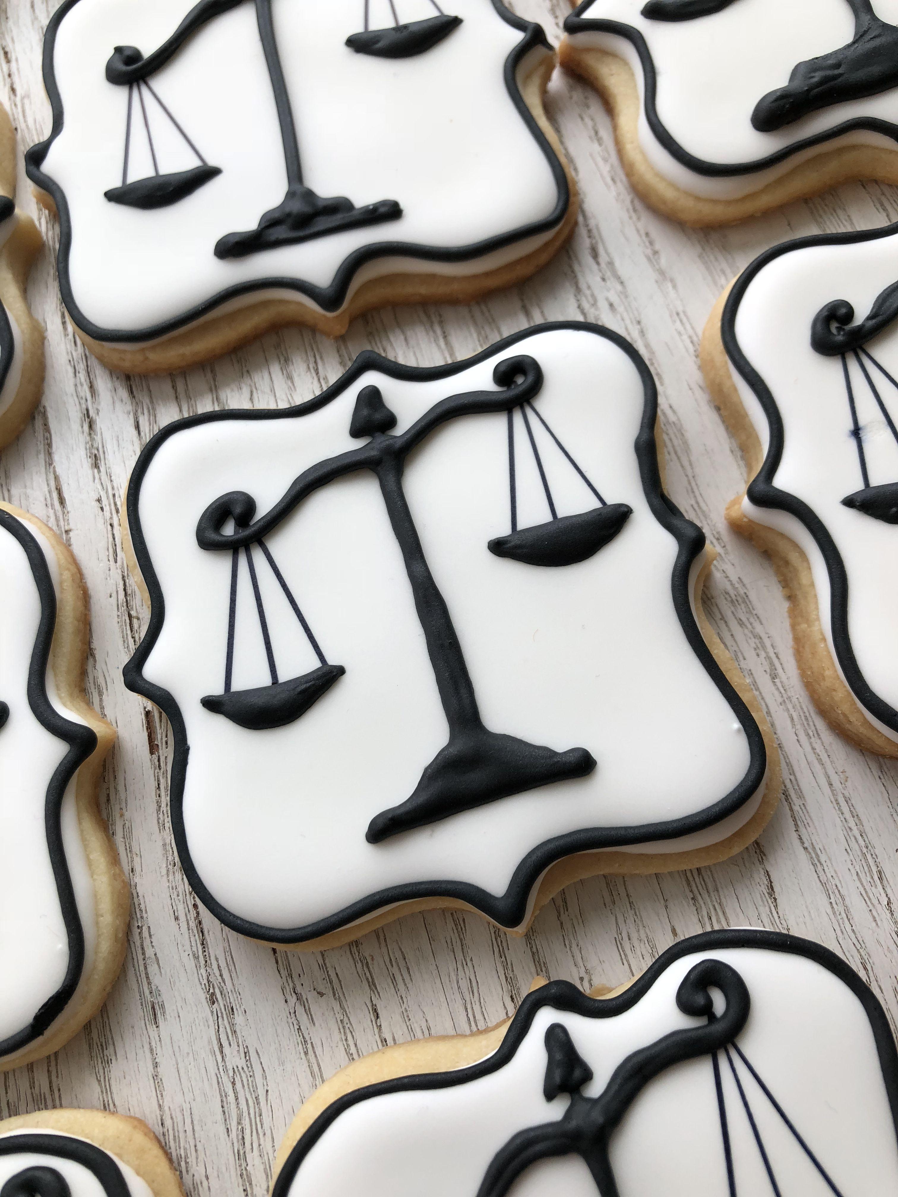 Kelly's scales of justice cookies | Graduation cookies ...