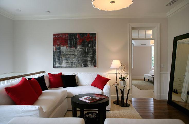 White Red Black Living Room Design With White Slip Covered Sofa Red Black Pillows Jute Rug Esp Living Room Red Black Living Room Black And Red Living Room