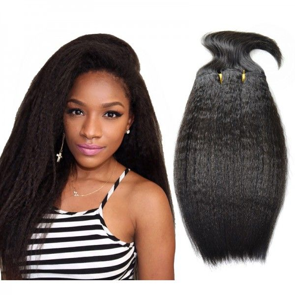 Mogolian Human Hair Weave Kinky Straight With 6 Inch Baby Hair