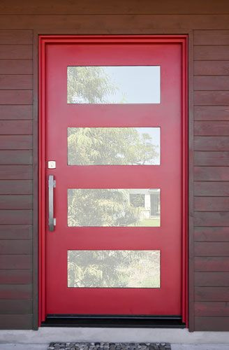 Modern front door 4 rectangular windows home remodel inspiration contemporary metal door true red finish with pull handles eventshaper