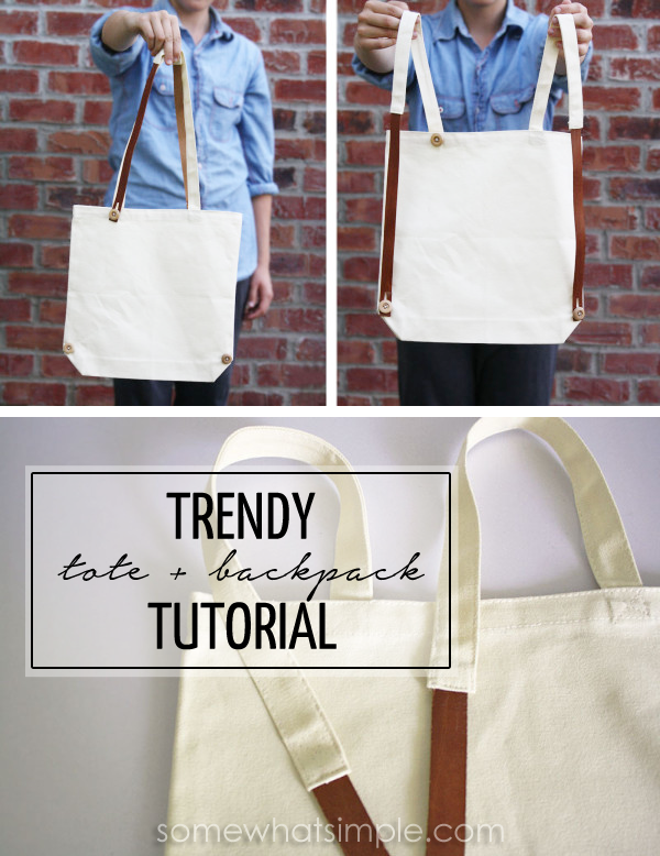 b9e1a6ab57 I m so in love with this canvas + leather interchangeable tote backpack! SO  easy to make!  TrendAlert