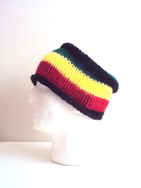 Mens Knit Rasta Head Band Knit Wide Head Band Dreadlock Headband Tube Bandana Yoga Headband Fitness...