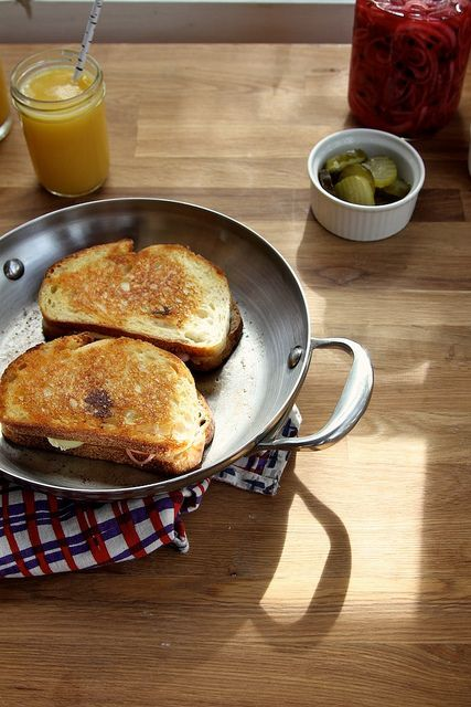 Pickles and Brie Grilled Cheese