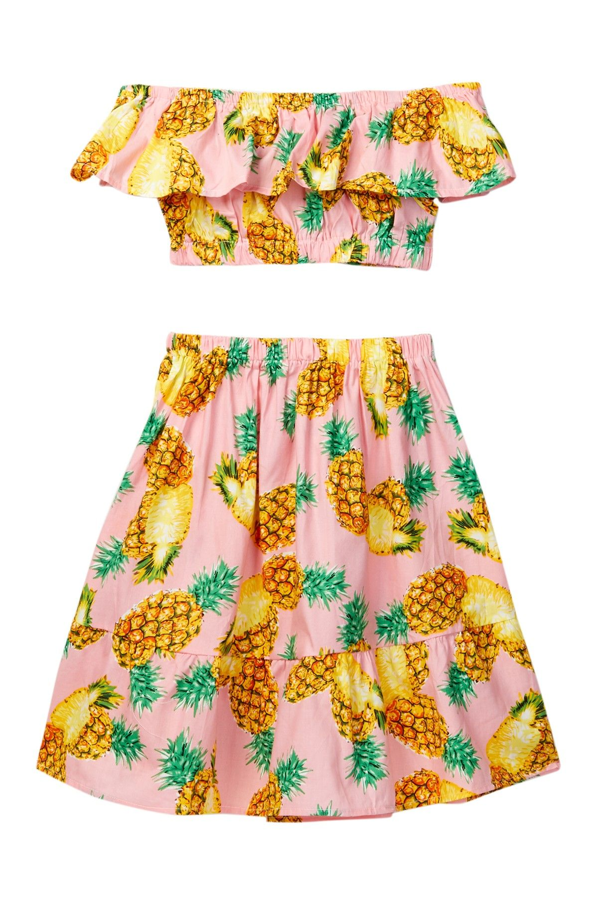 03f53b1c950d1 Off-the-Shoulder Pineapple Print Crop Top & Skirt 2-Piece Set ...