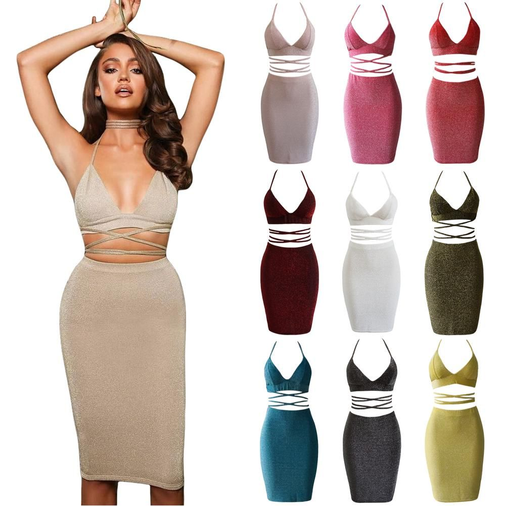 636f517e7e Sexy Women Two Piece Set Halter Strap Crop Top Bandage Bralette Skirt Set  Party Nightclub Outfit-buy at a low prices on Joom e-commerce platform