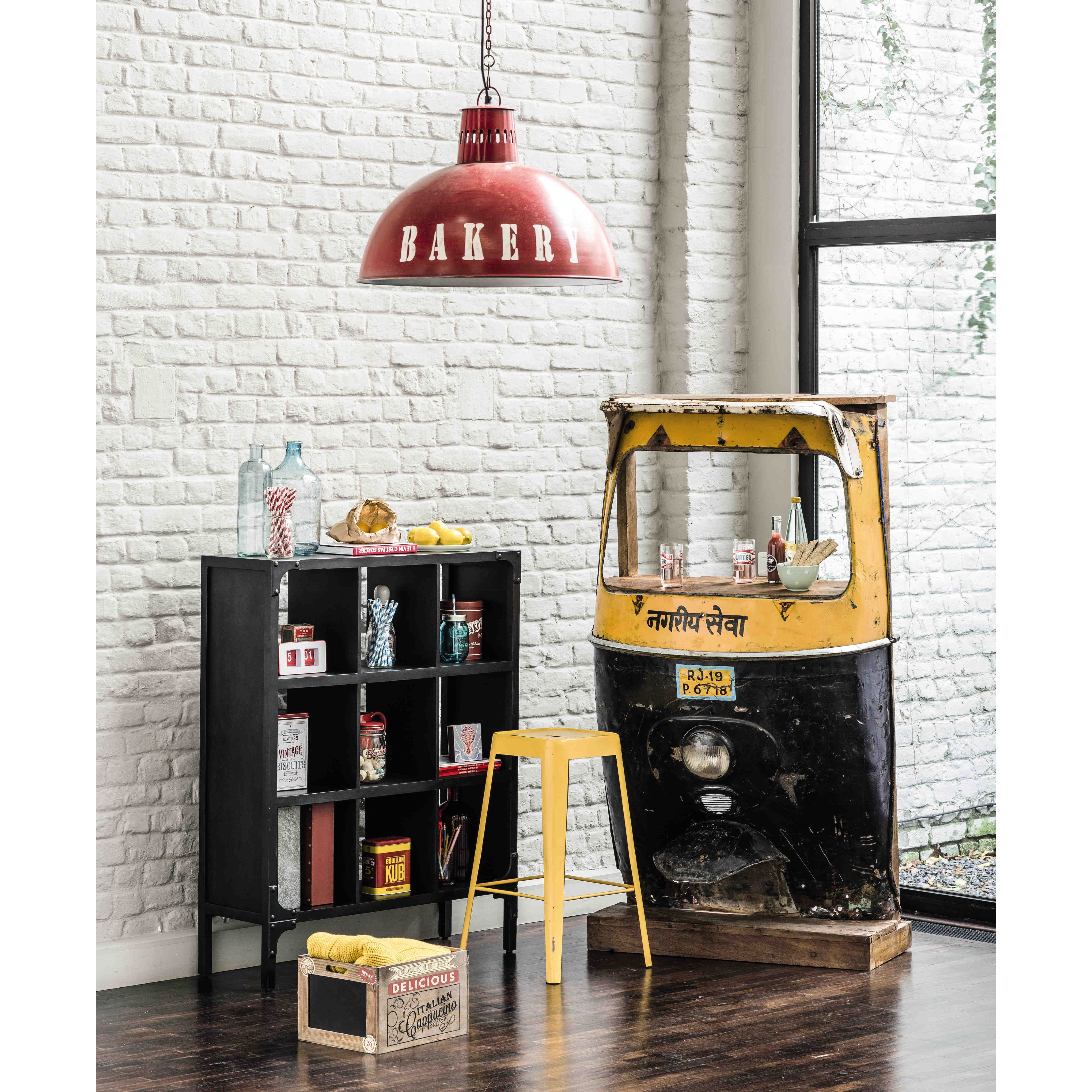 Meuble De Bar En M Tal Jaune Noir L 95 Cm Display