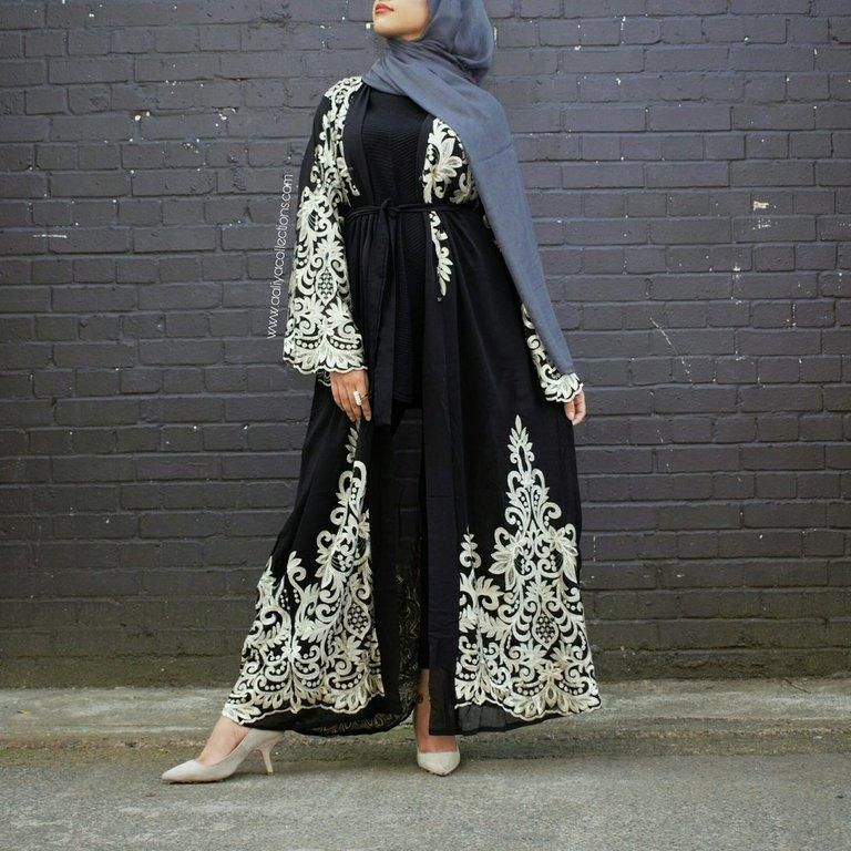 182d75c20713 Aaliya Collections Ilana abaya in black made with nida fabric with gold  embroidery