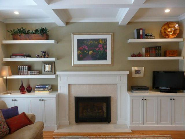 Stone Fireplace Gas Log Fireplace Floating Shelves And Cabinets