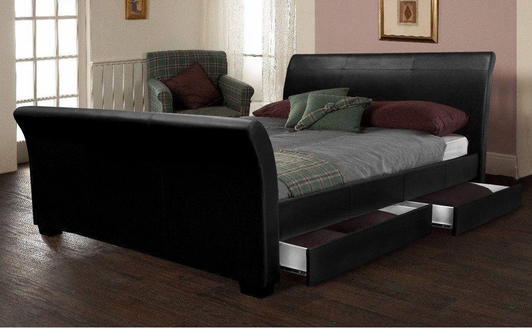 Best 4 Drawers Sleigh Bed Black Faux Leather With Images 400 x 300