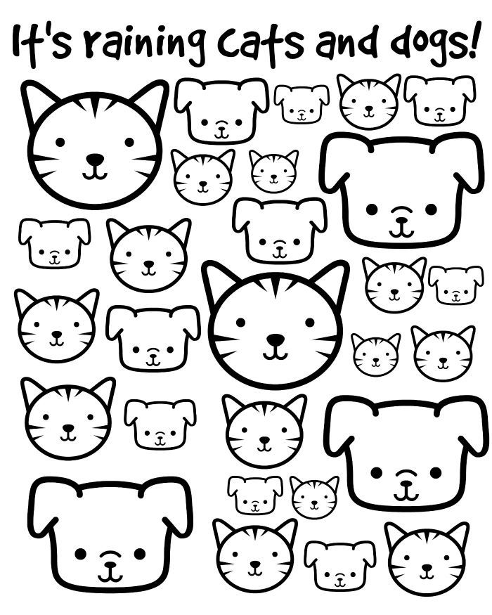 It's Raining Cats and Dogs Printable Coloring Page