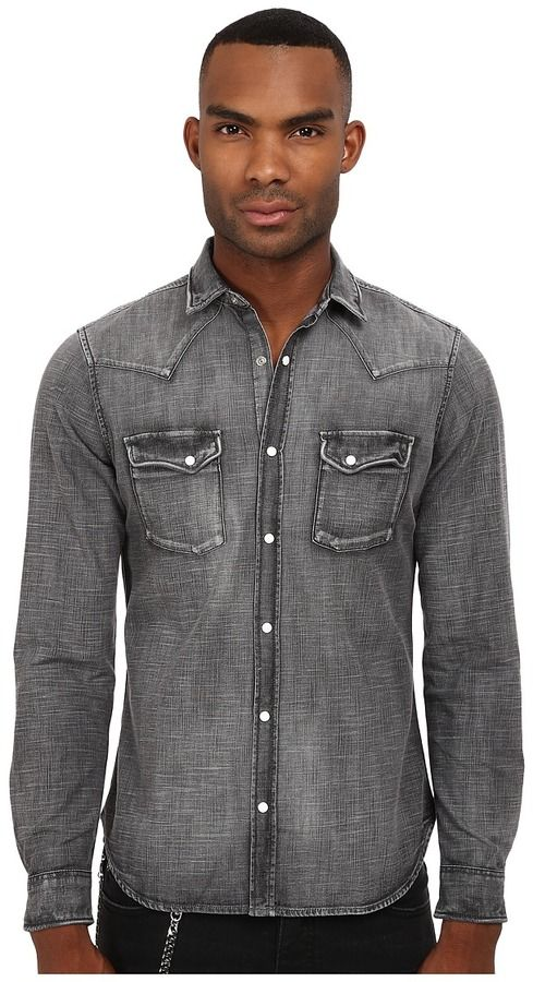 7cd8e4bada The Kooples Washed Black Denim Shirt Men's Long Sleeve Button Up ...