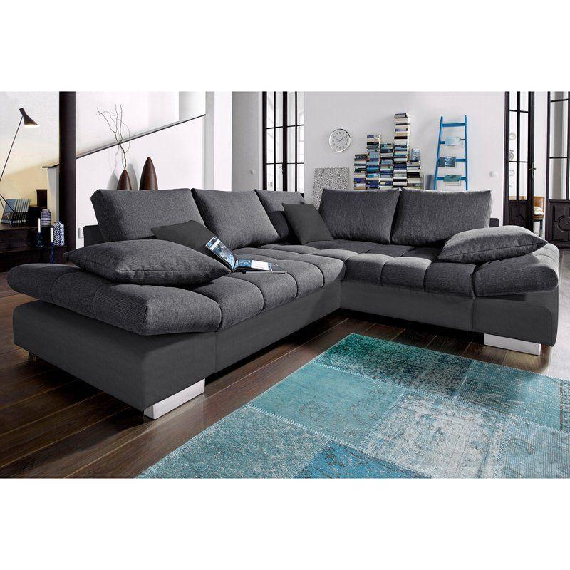 Canapé d angle convertible toile et tissu effet chiné angle fixe