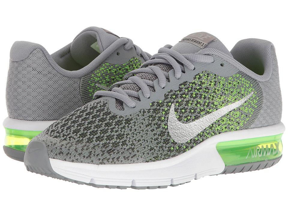 a5b6788b76 Nike Kids Air Max Sequent 2 (Big Kid) Boys Shoes Stealth/Metallic  Silver/Electric Green