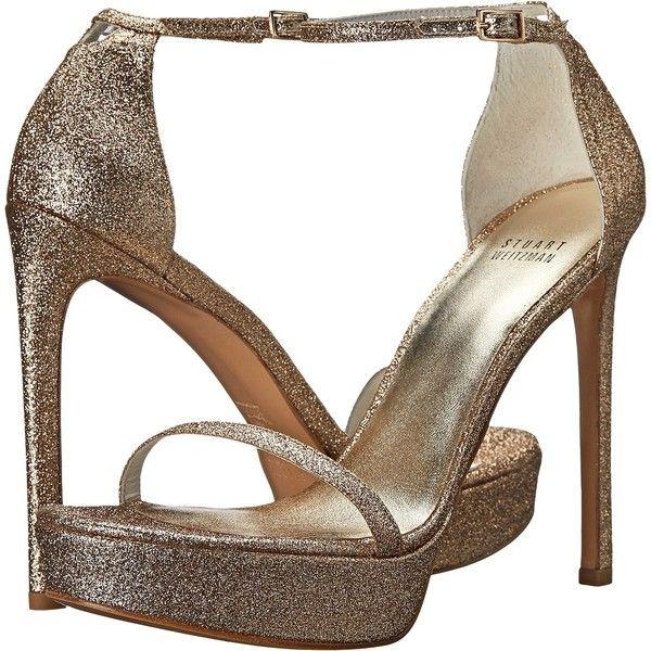 Stuart Weitzman Bridal & Evening Collection Nudistplatform (Sand Mini... (£205) ❤ liked on Polyvore featuring shoes, beige, platform shoes, high heel ankle strap shoes, beige shoes, leather shoes and ankle strap shoes