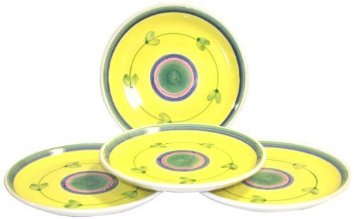 Caleca Carousel 4 piece salad plate set by Caleca. $31.23. All natural majolica/ceramic components individually hand-painted with non-toxic glazes and colors. Chip-resistant. Award-winning Carousel pattern, which in 1990 Caleca received the International Tabletop Award, a yellow pattern whose solarity and simplicity is liked by everyone and whose attractive, refined look is adaptable to any environment. Includes four art; 407 salad plates. Dishwasher safe; micro...