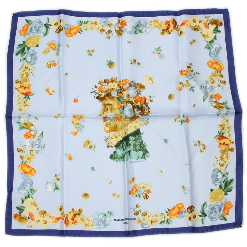 Blue Arcimboldo Silk Pocket Handkerchief Rubinacci