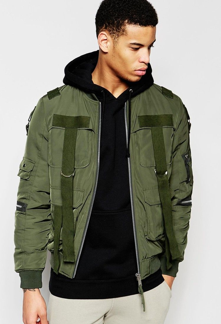 ASOS - ASOS Bomber Jacket With Strap Detail In Khaki