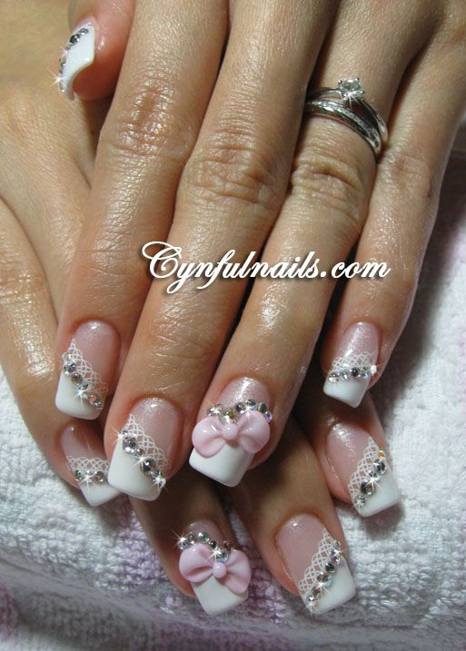 Bridal 3d Nail Art 3d Nail Art Pinterest 3d Bridal Nails And