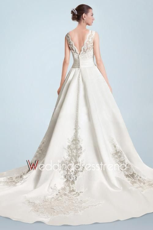 Best Spectacular Appliqued Beaded Chapel Train A-line Wedding Dress with V-shaped Neckline