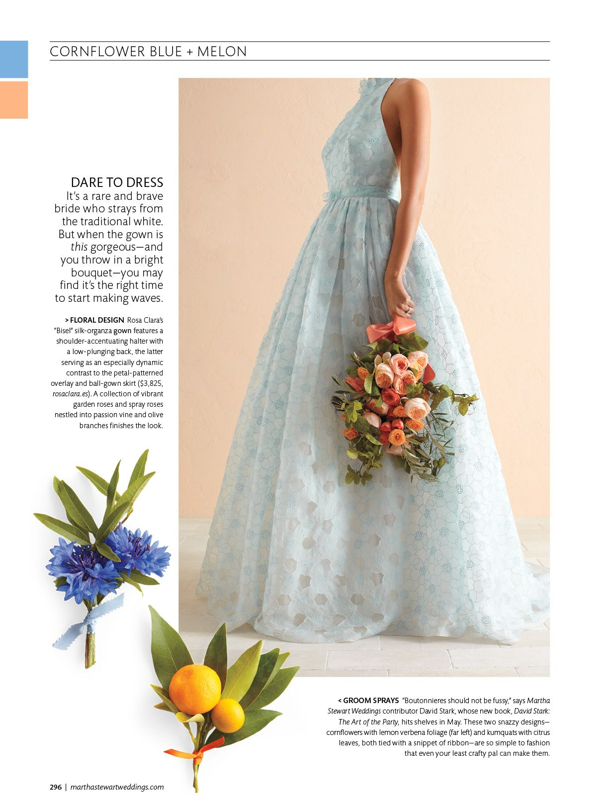 Design your own wedding dress near me  Pale blue silk organza wedding dress by Rosa Clara featured in the