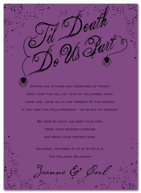 Til death alternative wedding anniversary pinterest holiday til death purple holiday invitations by invitation consultants item ic rlp hol 683 stopboris Choice Image
