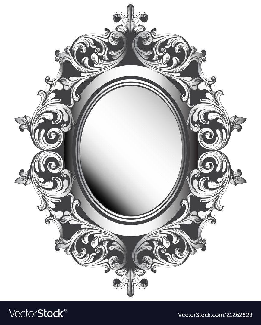 Baroque Silver Mirror Frame French Luxury Vector Image On Vectorstock Vintage Frames Mirror Frames Photo Frame Design