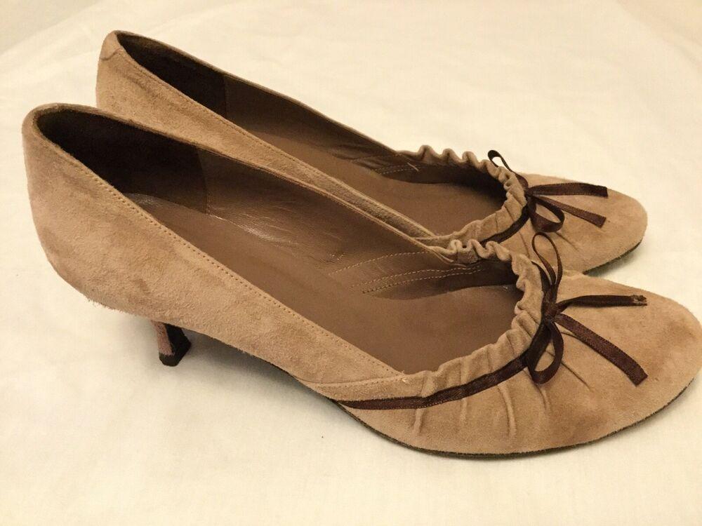 Jigsaw Suede Shoes Ladies Eu4 37 Dusky Rose Kitten Heel Leather Sole