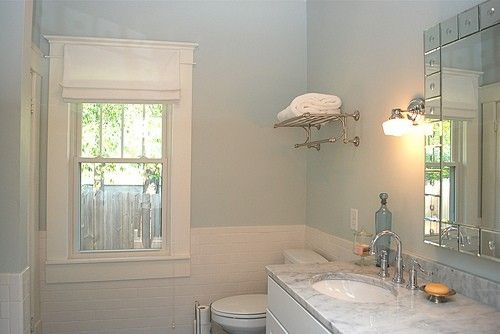 Light blue bathroom with silver and white for guest for Light brown bathroom ideas