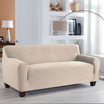 Perfect Fit Stretch Fit Microsuede Sofa Slipcover Decor