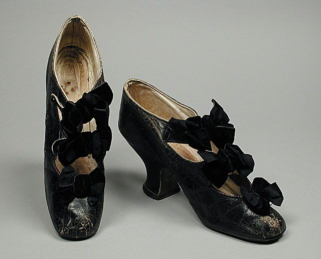 pair of victorian women's kid leather and velvet bar shoes, c.1885