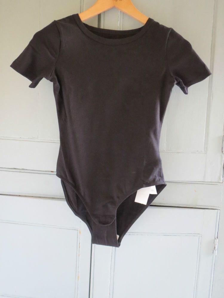 NEW Next Vintage 90s Black Stretchy Body Bodysuit T-Shirt Top Leotard UK 8 EUR36