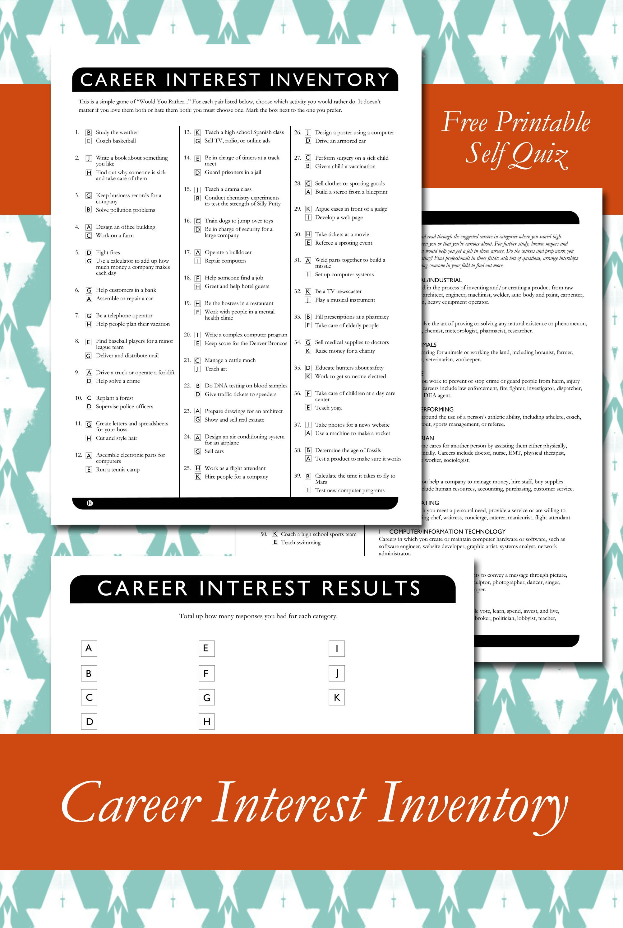 Career Interest Inventory Printable For Church College
