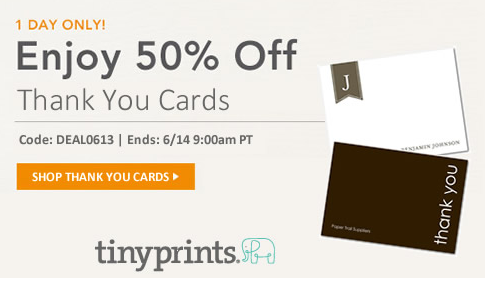 tiny prints coupon codes 50 off thank you cards through tomorrow