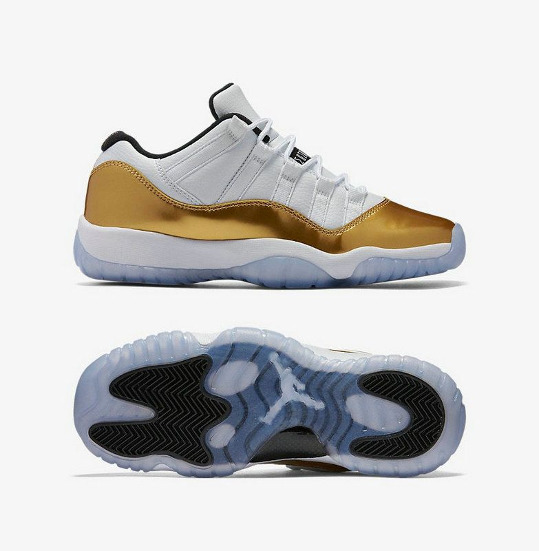 61a468e0724 Air Jordan 11 Youth Big Boy XI Low CLOSING CEREMONY Metallic Gold Coin  Black 528895 103
