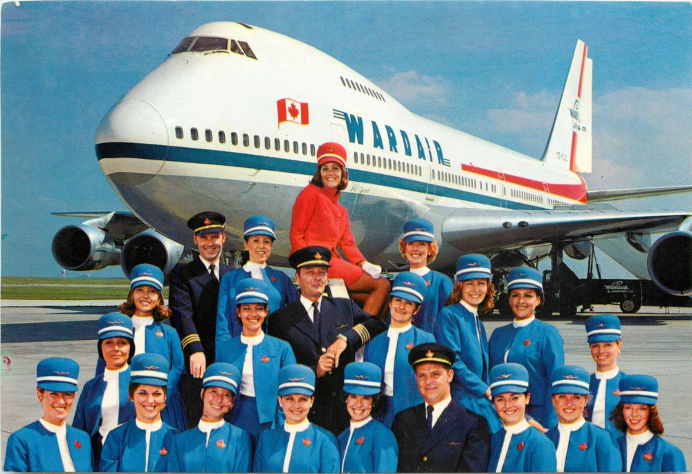 Stewardesses Amp Crew Wardair Airline Canada Great Old Postcard Ebay Canadian Airlines Flight Attendant Aviation