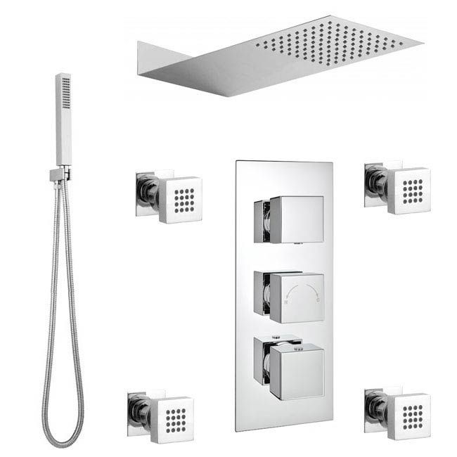 Modern Square Triple Valve With Diverter Thin Fixed Shower Head