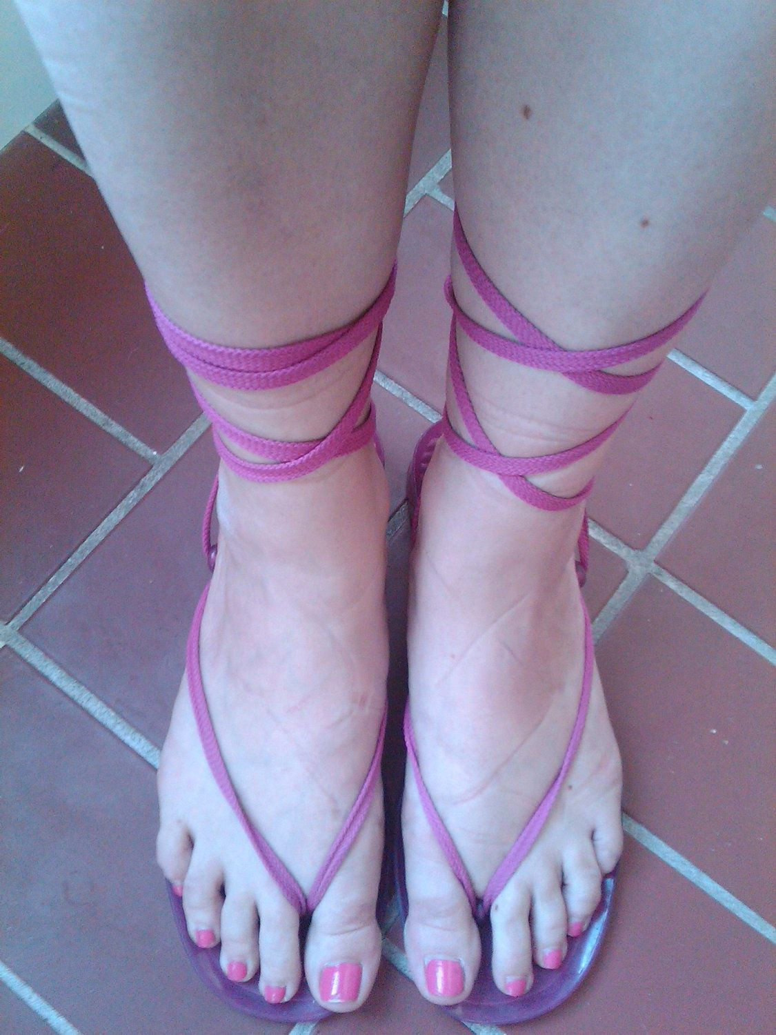 a63a7639f1e was 17.50 80s Gladiator LaCe Up JeLLy Sandals....sz 9.5 and Clean ...