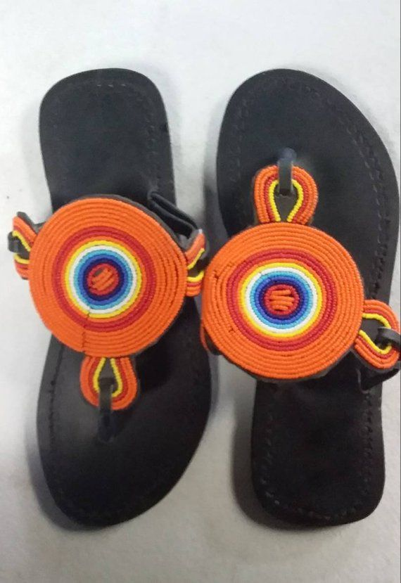 65e87bd26443 African beaded sandals for women - Leather sandals- Flat sandals- Maasai  beaded sandals for women- H