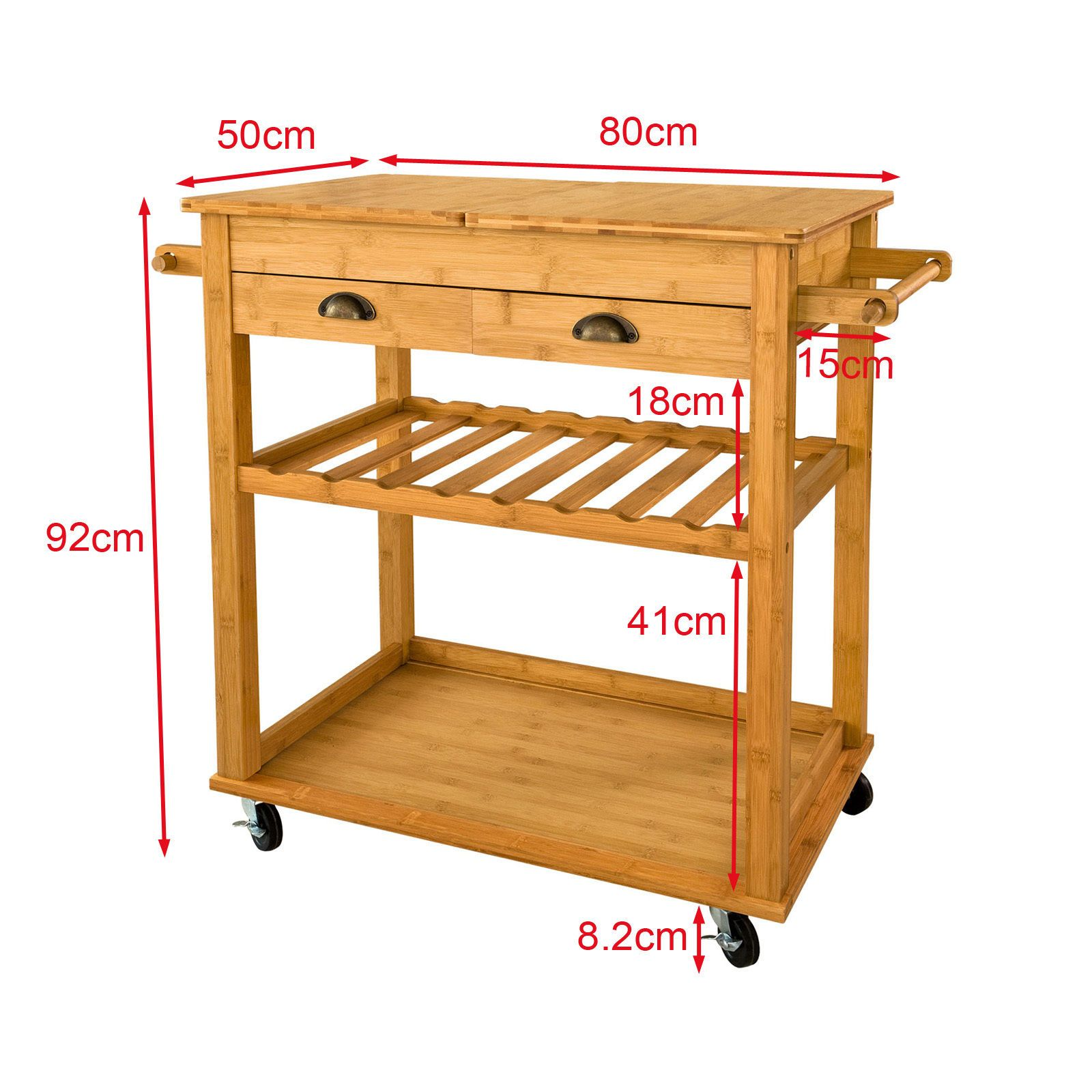 SoBuy® XXL Bamboo Kitchen Trolley Cart with Unfolding Countertop ...