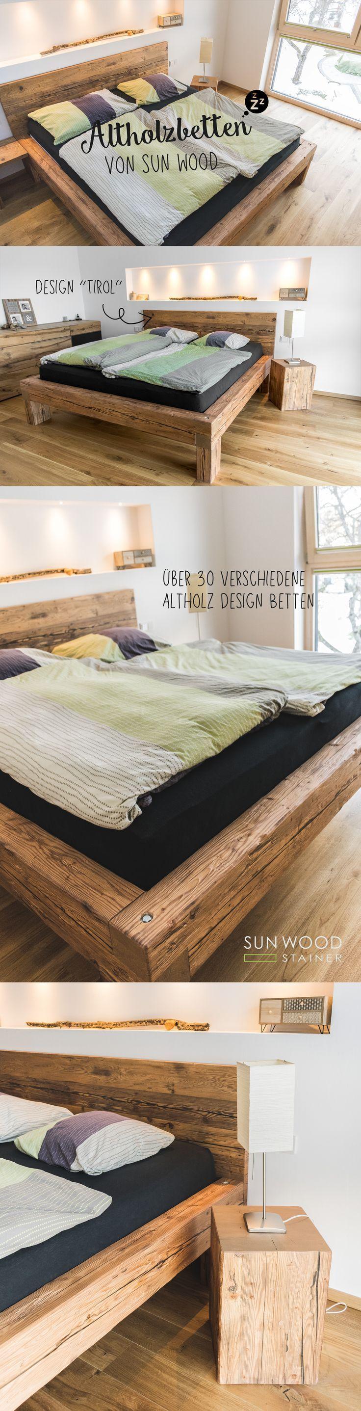 Designerbett aus alten Holzbalken – altes Holzbett, Balkenbett, Schlafzimmer, Schlafzimmer, … - Holz DIY Ideen #altesholz