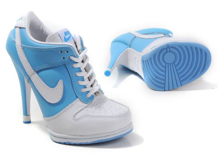 Light Blue White Women $102.99 Nike Dunk High-heeled Shoes - Air Jordan Dunk