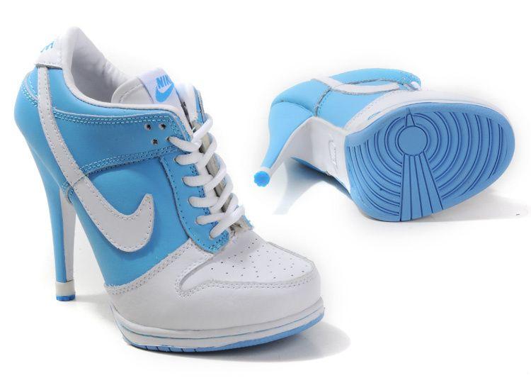 Light Blue White Women $102.99 Nike Dunk High-heeled Shoes - Air Jordan Dunk